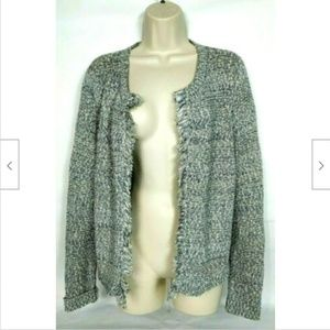 Loft Outlet Women's Shrug Sweater Large Gray White